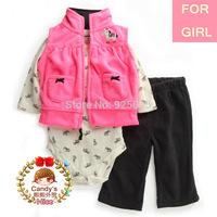 Carter Baby Girl Microfleece 3-piece Pink Zebra Vest Jacket Set Toddler Zip Clothing Suit Newborn-24m, In Store, YW
