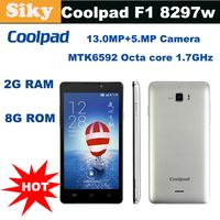 "In Stock Original Coolpad F1 8297w MTK6592 Octa core 1.7G Multi langauge Android 4.2 Dual-SIM WCDMA 5.0""HD IPS 2G RAM+8GB ROM"
