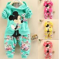 2014 Spring Autumn baby girls Sport suit set Mic Mouse long sleeve children hoodies set hoodies+pants kids 2 pcs clothing set