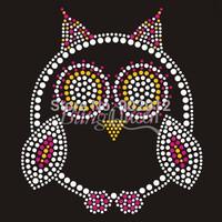 25PCS/LOT Hot Fix Iron On Rhinestone Appliques Transfers Owl Design