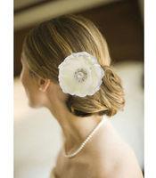 "Wholesale - 6PX 4"" Blooming Silky Cream Flower Crystal Pearl Hair Clip Hair Pin wedding Bridal Bridesmaid Party"