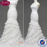 Free Shipping Pleated Bodice Ruffled Organza Sexy Mermaid Wedding Dress Bridal Gown 2014 NW0712