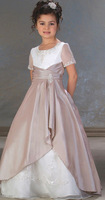 low price new in stock A-line short sleeve floor length cute white and hot pink cheap flower firl dresses under 50
