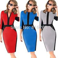 2014 New Fall Winter Women Half Sleeve Zipper Slimming Stretchy Knee-Length Dress Ladies Wear to Work Pencil Dresses Plus S-XXL