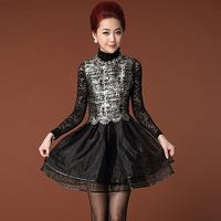 HIGH QUALITY fashion Women 2014 Autumn winter desigual sleeveless plus size chiffon dress leather decoration luxry dresses B2088