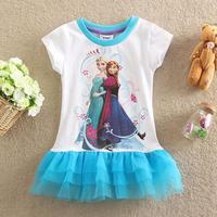 2-6y Free shipping New summer dress 2014 baby girl dress fashion frozen dress Anna Children dresses girls clothing 100% cotton