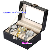 3 Slot Watch Display Glass Top Men Women Jewelry Storage Organizer Case Box Travel Gift Free Shipping