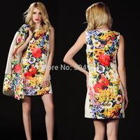New Autumn dress 2014 Print Flower tank Brand dress Heavy Jacquard 3D painting O-neck Aline Mini Dresses Women S-XL optional