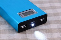 LCD dispaly 20000mah LED power bank With universal Dual USB Outputs External Backup Battery charger with 4 Connector usb cable