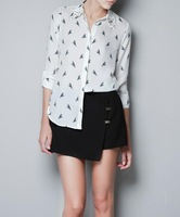 2014 New Fashion Women's Blouses Printing Shirts Full Sleeves Turn-down collar Casual Tops woman clothing SHIRTS-63033