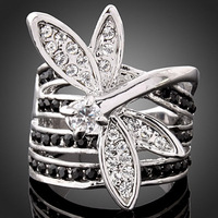 Ladies Lovely Dragonfly Austrian Crystal 18k White Gold Plated Ring US Size 6 7 8 9