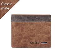 High Quality genuine leather wallet brand designer mens wallets brown black gary color for men purse