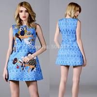 (S-XL) 2014 New European Brand Blue Mini dress Heavy Jacquard 3D painting Tank bird of Minerva Print O-neck Dresses For Women