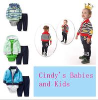 2014 Original Carter's Baby Boys Cotton Green Jacket+ Bodysuit+ Pants 3pcs Sets, Carter's Baby Suit, Freeshipping
