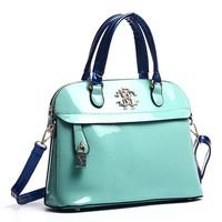 High-grade patent women leather handbags tide Europe fashionable casual messenger bag hand glossy candy shoulder handbag