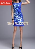 (DEIVE TEGER)Free Shipping 2014 short sleeve Print blue OL lady Pencil  evening dress summer dress red & yellow   DP193