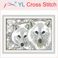 2014 Cross Stitch Unfinished DMC Cross Stitch Home Decor DIY Dimension Cross Stitch Wolf Brothers Counted kits for Embroidery