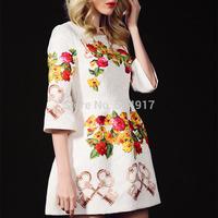 2014 Quality New European Plus size Brand dress Heavy Jacquard 3D painting Three quarter Print Flower O-neck Mini Dresses Women