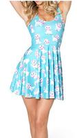Best Quality 2014 new fashion women hot selling sleeveless sweet cat pattern blue skater dress free shipping