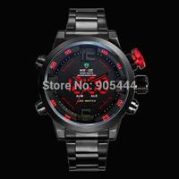 Black Stainless Steel Mens Red LED Analog Digital 12H 24H Year Day Date Stopwatch Alarm  Quartz Wrist Watch W102