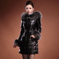 Free shipping 2014 new garment sheepskin leather jacket in the lady's long large fox collars