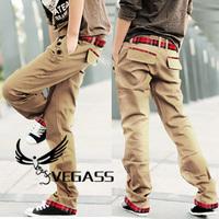 Spring and summer Stylish Men Casual Long Trousers Slim Straight Pants Fashion Sportsman Lattice