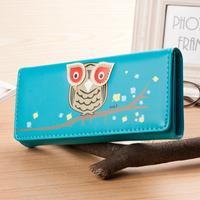 New 2014 Fashion Owl Cartoon Women Wallets Leather Wallet Cute Holder For Money Women Clutch Coin Purse Freeshipping