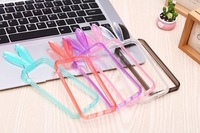 10pcs/lot Cool Design Bumper Lovely 3D Rabbit Bunny Soft TPU Clear Frame Case For iphone5 5G,with retail package,Free Shipping