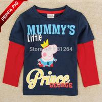 2015 Nova Kids Boy Peppa Pig Clothing George Pig Long Sleeve Shirt Cartoon Printed Baby Boys T shirt Drop Shipping