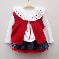 5pcs/lot (2-6T) Wholesale New Baby Girls Lace T shirts girls Long Sleeve Shirt, Polka Dot Tee for Girls Cotton Free Ship