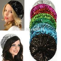 14 Colors Women Crochet Hat Trendy Sparkle Sequin Knitted Beanie Beret Gorro Female Cap Girl Skullies