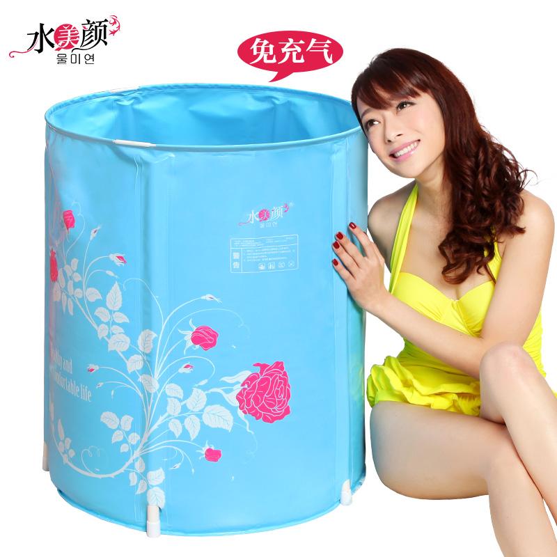Water beauty folding tub bath bucket adult bathtub inflatable bathtub thickening plastic bathtub bath bucket(China (Mainland))