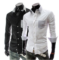 Hot Sales! New Arrival High Quality Men's Shirts Solid Color Casual Shirts Turn-down Collar Long-sleeved Shirt 2 Colors