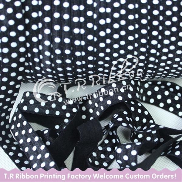 """white dots printed fold over elastic,#030balck, custom printed elastic ribbon headbands 5/8"""" 16mm 100yards free shipping(China (Mainland))"""