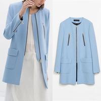 2014 New Fashion Blue Autumn Women Zipper Pockets Long Coat Trench Long Sleeve Office Lady Outwear Work Wear Free Shipping