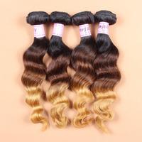 Retail virgin ombre loose wave virgin hair Grade 8a 12-28 inch brazilian loose wave hair multi colors hair bundles free shipping