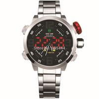 Silver Mens LED Analog Digital Year Day Date Alarm Stopwatch Quartz Wrist Steel Band Watch W103