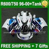 +Tank For SUZUKI  Dark blue white GSXR 750 600 96 97 98 99 00 3N234  GSX R750 R600 1996 1997 1998 1999 blue white 2000  Fairing