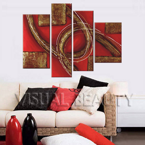 4 Pieces Special Style Abstract Oil Painting on Canvas Unframed