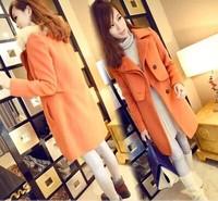 2014  new European style Women woolen coat long section with fur collar