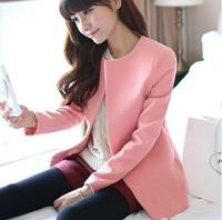 2014 new fashion women sweet color long sleeved woolen jacket coat