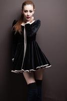 2014 Autumn/Winter Elegant Big Expansion Bottom Type Velvet Dress, Fashion Women's Velvet Long Sleeve Dress