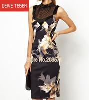 (DEIVE TEGER)Free Shipping 2014 sleeveless  mesh black print OL lady Pencil  evening dress summer dress  DR164