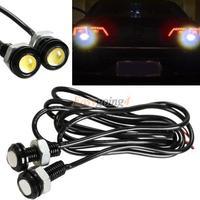 EA14 2pcs 3W Car Motor White LED Eagle Eye Daytime Running Tail Backup Light