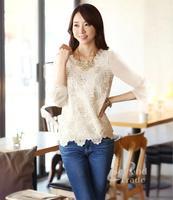 2014 Desigual Lace Women Summer Clothing White Chiffon Ldaies Casual Shirt With Beadings Plus Size  Femininas Blusas