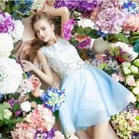 Baby Blue Women Lace Top A-Line Mini Dress Sleeveless Fashion Princess Chiffon Dress Cute Lovely Sweet Lolita Girl Best Dresses