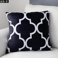 H3138 Fashion Black White Printing Velvet Cushion Cover Soft Sofa Pad Cushion Throw Pillow cases Home Decoration Gifts 45x45cm