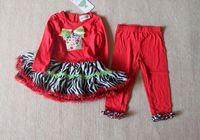 Children girls red Christmas  cartoon clothing set  2 pcs red zebar pettiskirt dress  + pant  2 pcs   Tutu pettiskirt set
