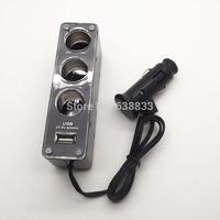 USB Triple Socket 3 Triple Socket DC12/24V+ 1 USB DC 5V Car Cigarette lighter plug Charger adapter for Mobile phone mp3 mp4 GPS
