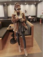 2014 New Arrival Women Winter Coat Slim Long Length with Ziper Wool Liner Solid Casual  Suede Women Outwear X157